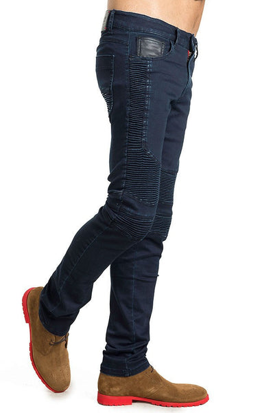 RON TOMSON - Side Quilted Skinny Washed Moto Jeans  - Navy - RNT23 - 2