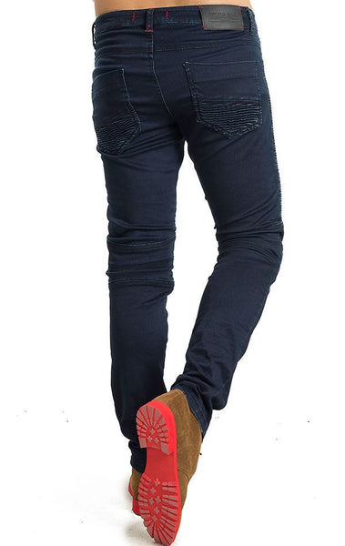 RON TOMSON - Side Quilted Skinny Washed Moto Jeans  - Navy - RNT23 - 3