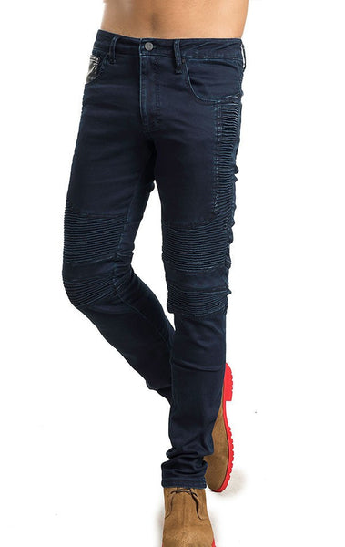 RON TOMSON - Side Quilted Skinny Washed Moto Jeans  - Navy - RNT23 - 1