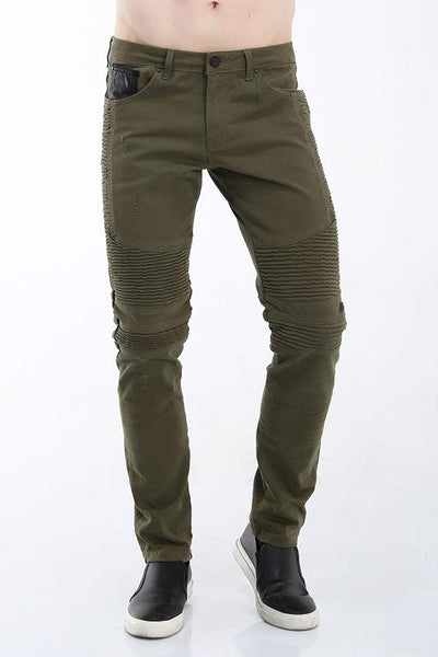 Side Quilted Skinny Washed Moto Jeans  - Green