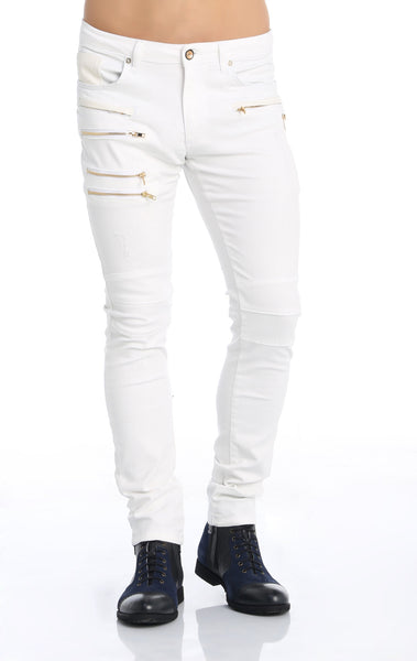 RON TOMSON - Multi Zipper Moto Jeans - White Gold - RNT23 - 1