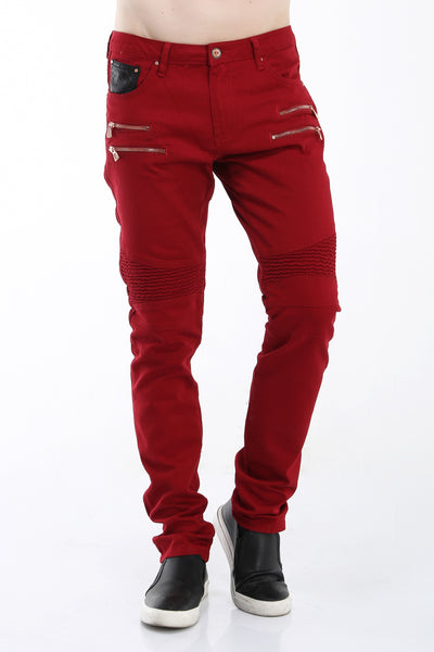 Zipper Front Biker Jeans - Red Copper