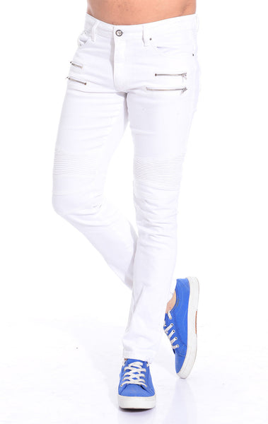 RON TOMSON - Zipper Front Moto Jeans  - White Silver - RNT23 - 1