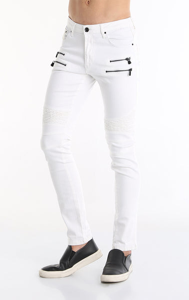 Zipper Front Biker Jeans - White Black