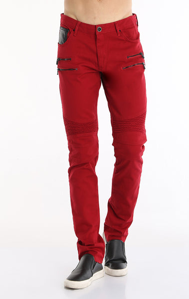 Zipper Front Biker Jeans - Red Black
