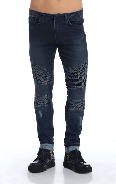 RON TOMSON - Quilted Skinny Washed Moto Jeans  - Navy - RNT23 - 1