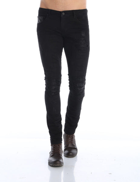 RON TOMSON - Distressed Moto-Patched Skinny Jeans - Black - RNT23 - 1
