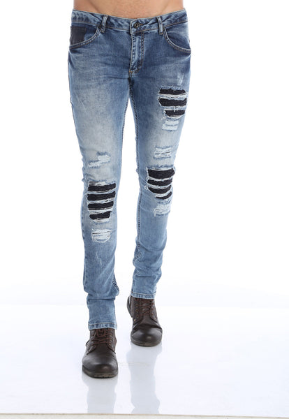 RON TOMSON - Distressed Moto-Patched Skinny Jeans - Blue - RNT23 - 1