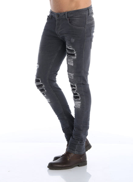 RON TOMSON - Distressed Moto-Patched Skinny Jeans - Grey - RNT23 - 3