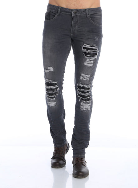 RON TOMSON - Distressed Moto-Patched Skinny Jeans - Grey - RNT23 - 1
