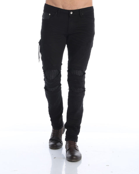 RON TOMSON - Heavy Distressed Ribbed Moto Biker Jeans - Black - RNT23 - 1