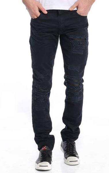 Ripped and Patched Regular Fit Jeans - Navy