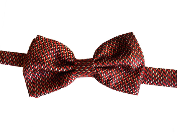 Geometric Evening Bowtie - Red Brown
