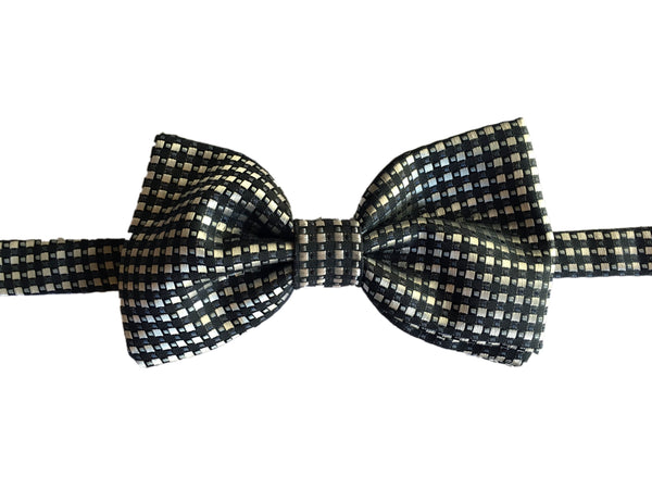 Geometric Evening Bowtie - White Black