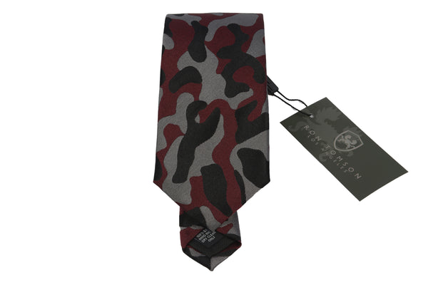 Silk Print Tie - red camouflage