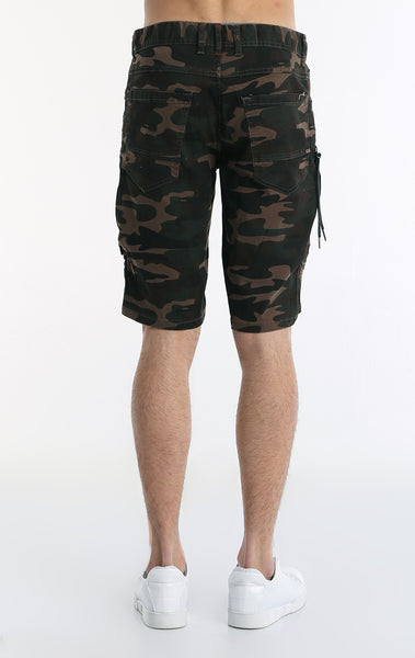 Moto Ribbed Denim Short - Camouflage