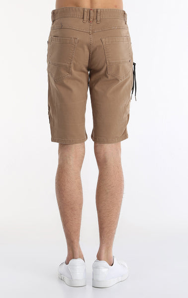 Moto Ribbed Denim Short - Camel