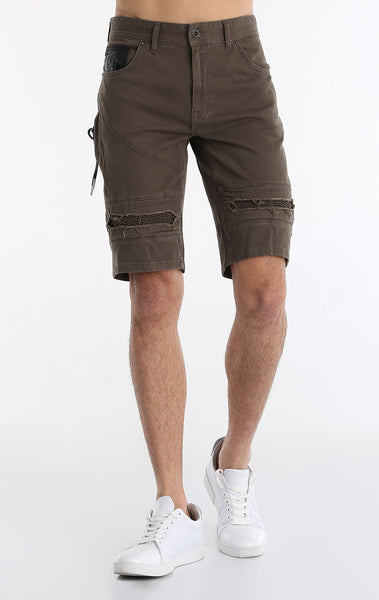 Moto Ribbed Denim Short - Khaki