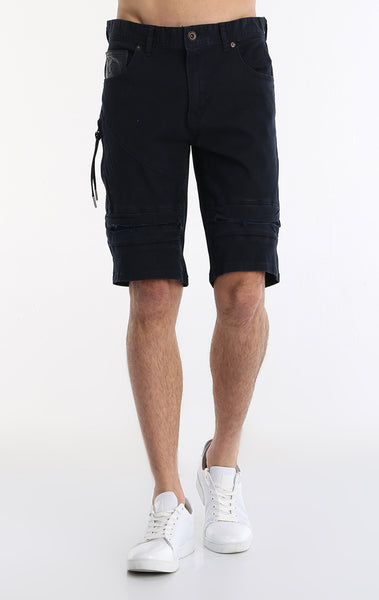 Moto Ribbed Denim Short - Navy