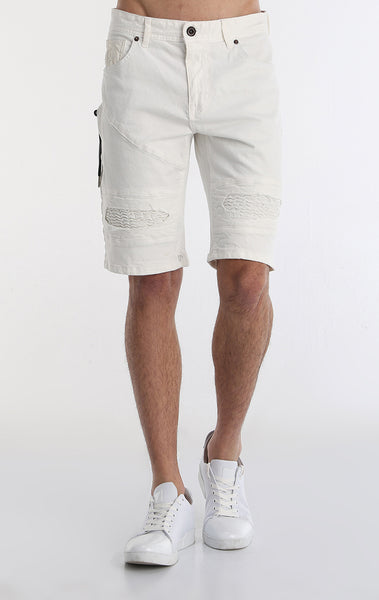 Moto Ribbed Denim Short - White