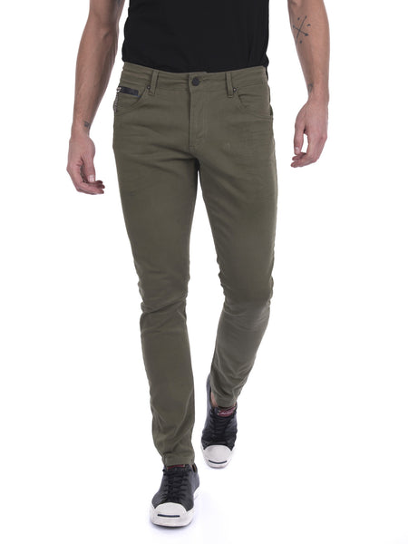Stone Wash Slim Fit Jeans - Green