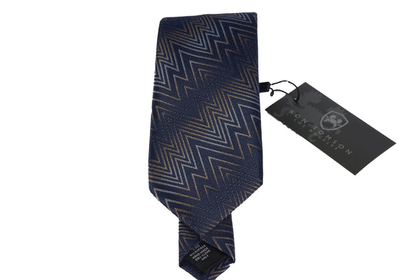 Microfiber Print Tie - Brown Navy
