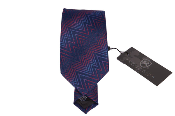 Microfiber Print Tie - Red Blue