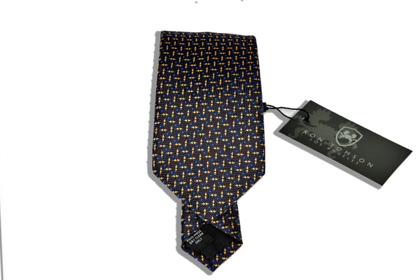 Microfiber Print Tie - Gold Brown