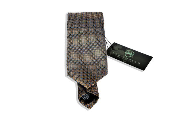 Microfiber Print Tie - Brown White