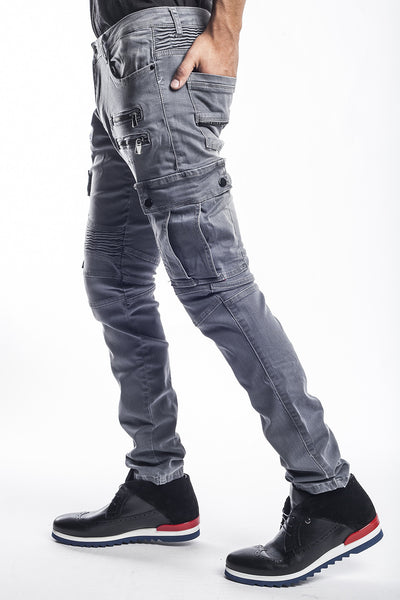 Flap Pocket Zipper Moto Jeans - Grey