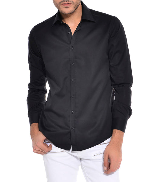 RON TOMSON - Ron Tomson Brand Tonal Button Cotton Shirt - Black - RNT23 - 1