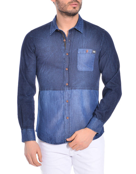 RON TOMSON - Ron Tomson Brand Color Block Cotton Shirt - Dark Blue - RNT23 - 1