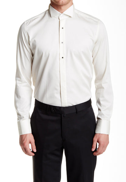 RON TOMSON - Jewel Button Sleek Slim Fit Tuxedo Shirt - Beige - RNT23 - 1