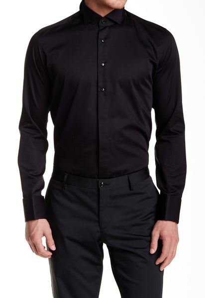 RON TOMSON - Jewel Button Sleek Slim Fit Tuxedo Shirt - Black - RNT23 - 1