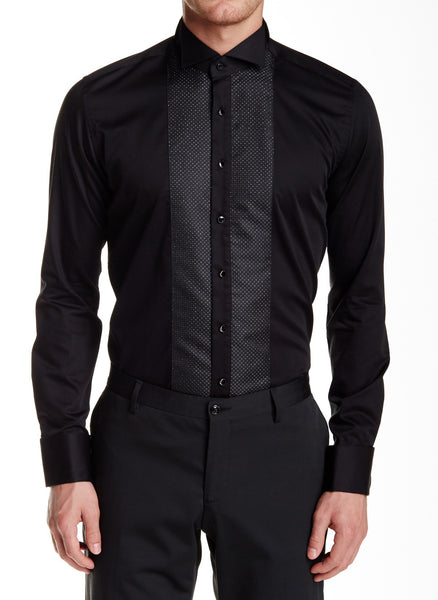 RON TOMSON - Embroidered Jewel Button Slim Fit Tuxedo Shirt - Black - RNT23 - 1