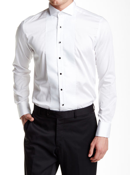 RON TOMSON - Embroidered Jewel Button Slim Fit Tuxedo Shirt - White - RNT23 - 1