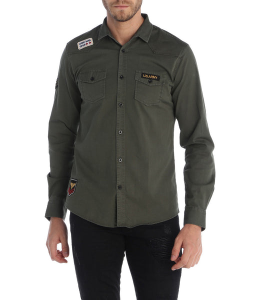 Patch Embellished Slim Fit Army Shirt
