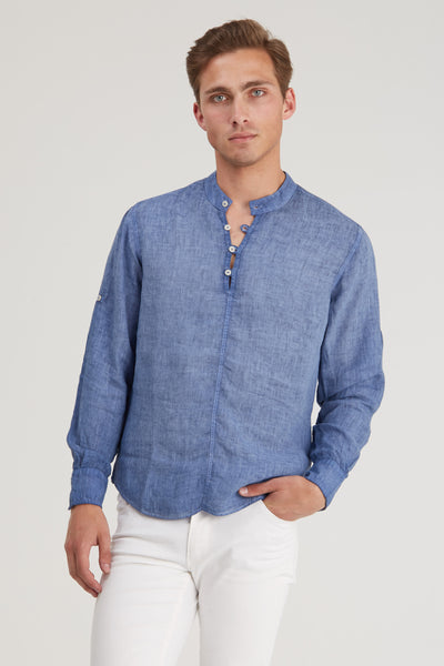 Washed Henley Linen Shirt - Blue