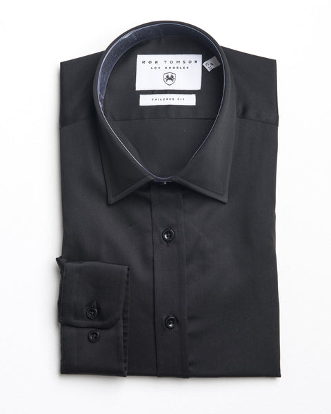 Italian Collar Dress Shirt - Black
