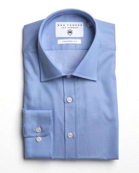 Italian Collar Dress Shirt - Blue