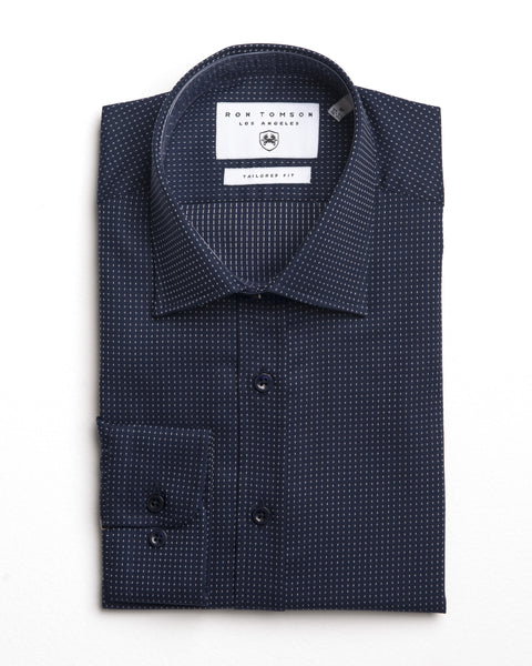 Italian Collar Dress Shirt - Dark Navy White