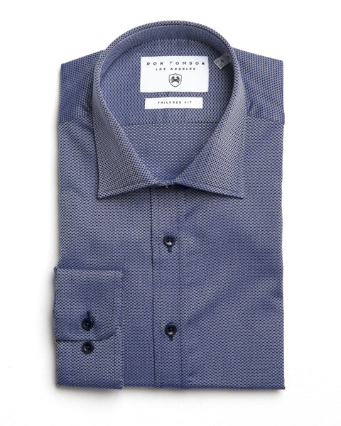 Italian Collar Dress Shirt - Navy White