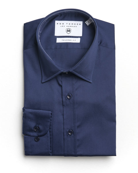 Italian Collar Dress Shirt - Navy