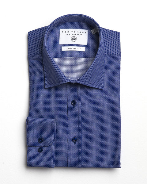Italian Collar Dress Shirt - Sax