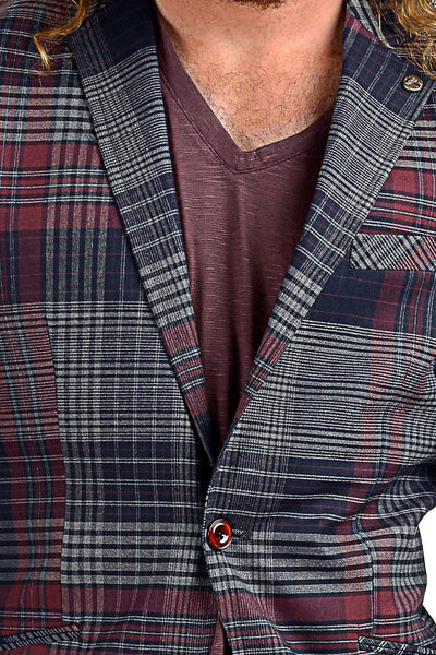 RON TOMSON - Plaid Body Contrast Sleeves Blazer - RNT23 - 2