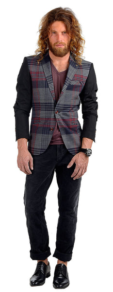 RON TOMSON - Plaid Body Contrast Sleeves Blazer - RNT23 - 5
