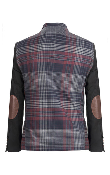 RON TOMSON - Plaid Body Contrast Sleeves Blazer - RNT23 - 3