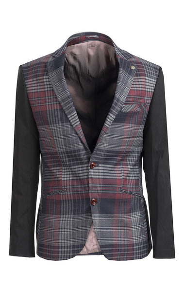 RON TOMSON - Plaid Body Contrast Sleeves Blazer - RNT23 - 1