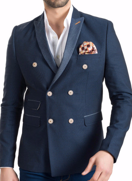 RON TOMSON - Contrast Lapel Double Breasted Blazer - RNT23 - 1