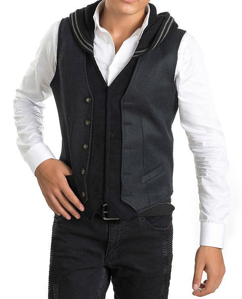 RON TOMSON - Hooded Mixed Media Vest - RNT23 - 4
